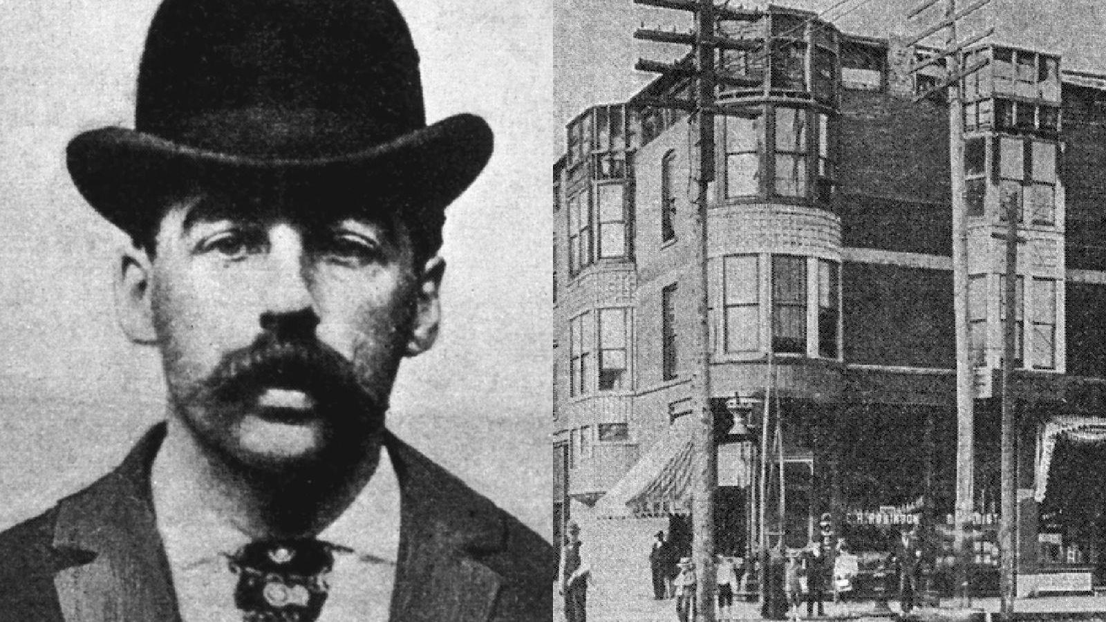 """Dr. Henry Howard Holmes-ot a világ első sorozatgyilkosaként tartják számon. Egy hotelt üzemeltetett Chicagóban a 19. században, melyet úgy alakított ki, hogy vendégeit könnyedén meg tudja gyilkolni. Az épületet ma """"Gyilkos kastély"""" néven emlegetik. (Wikipedia)"""
