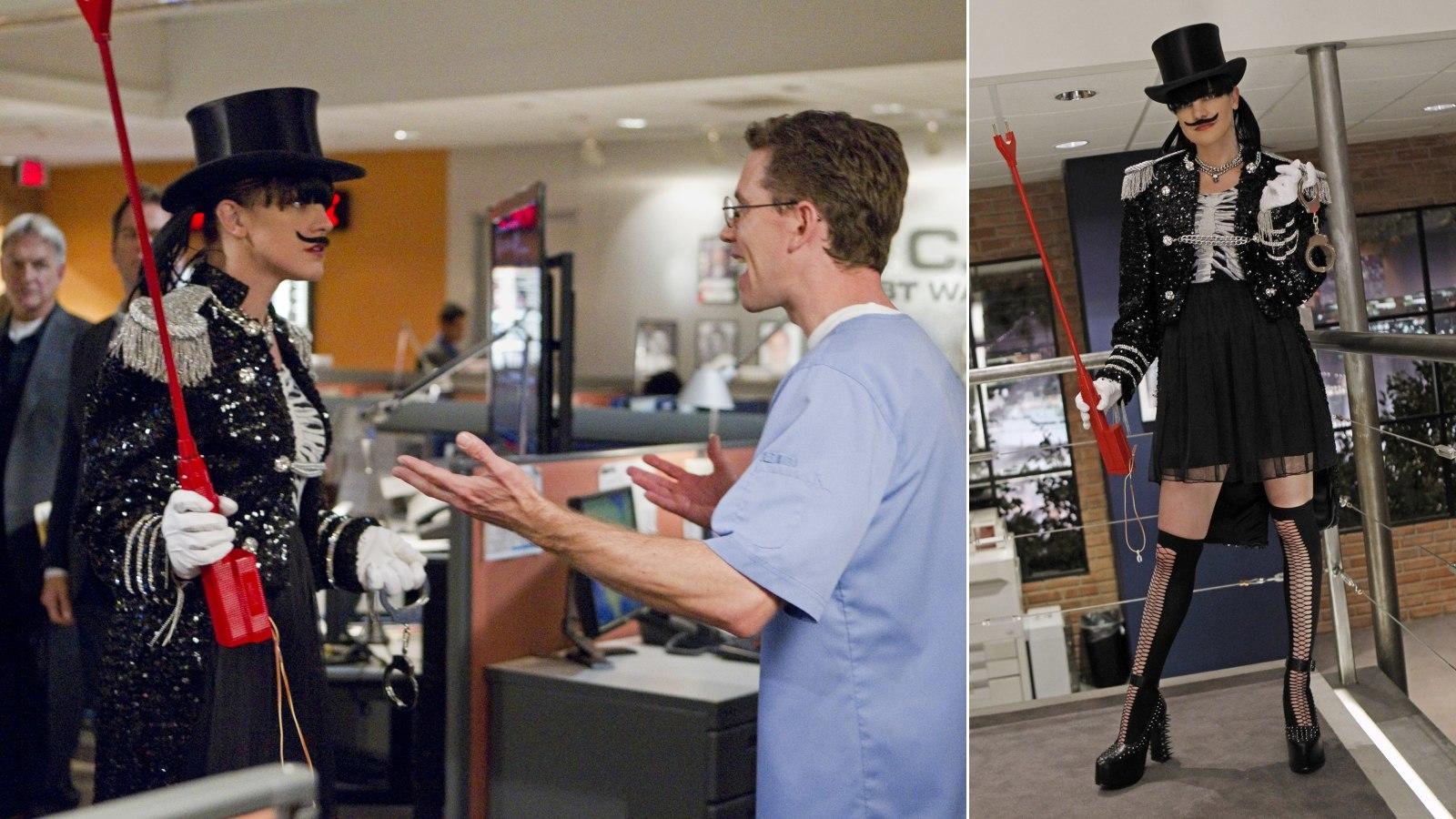 Rachel Goodnak az a kedvence, amikor a forgatókönyv szabad teret enged a jelmeznek. Ilyenkor születnek a legvadabb dolgok, itt Abby például oroszlánszelidítőként jelenik meg. Bajusszal. (CBS)