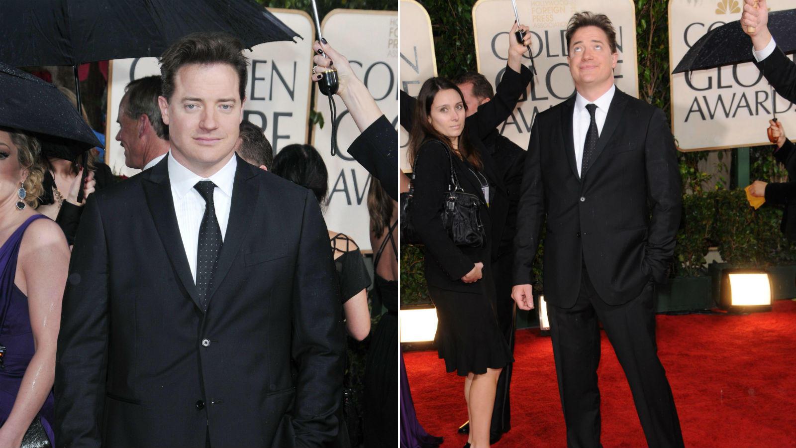 Brendan Fraser biztos tapsolni szeretett volna, de a 2010-es Golden Globe gálán ez nem jött össze, inkább hasonlított fura vudu szertartásra vagy rohamra, amit a kezeivel művelt. (REX/ Shutterstock)