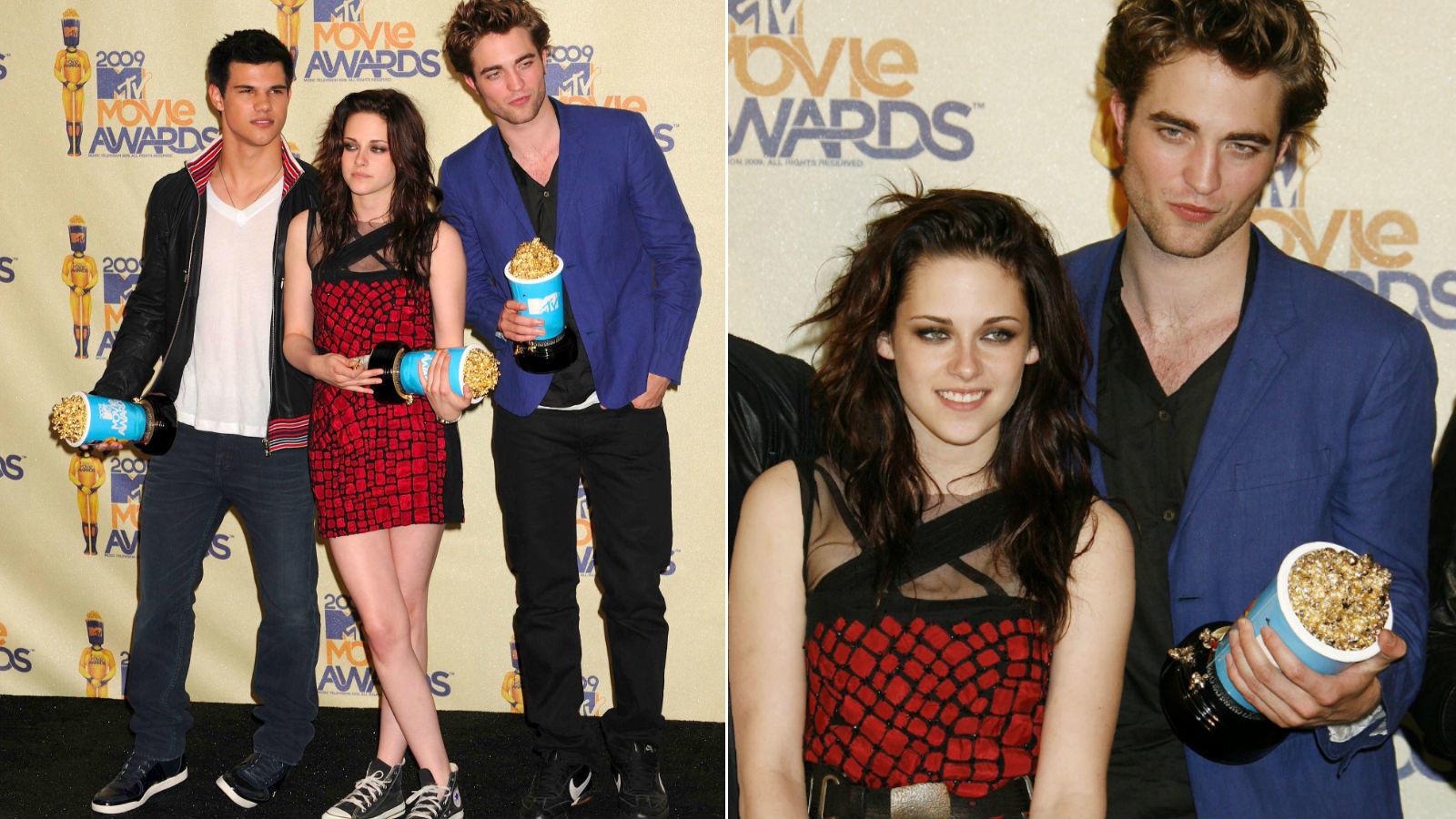 Az Alkonyat filmek sztárja annyira zavarban volt, amikor át kellett vennie a legjobb színésznőnek járó díjat a 2009-es MTV Movie Awardson, hogy elejtette az Arany Popcorn szobrocskát, ami annak rendje s módja szerint ripityára tört. (REX/ Shutterstock)