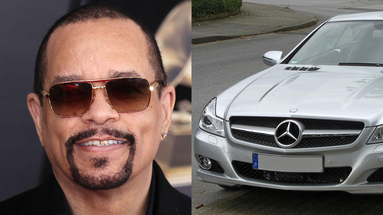 """Az egykor a """"Cop Killer"""" című számával sokkoló, ma meg már színészként rendőrt is simán eljátszó rapper, Ice-T híres az egyedi és méregdrága autók iránt rajongásáról. Garázsában pedig olyan autók állnak, mint az itt látható Mercedes-Benz SL 55 R. (Kristina Bumphrey/StarPix/Shutterstock\ Matthias93)"""