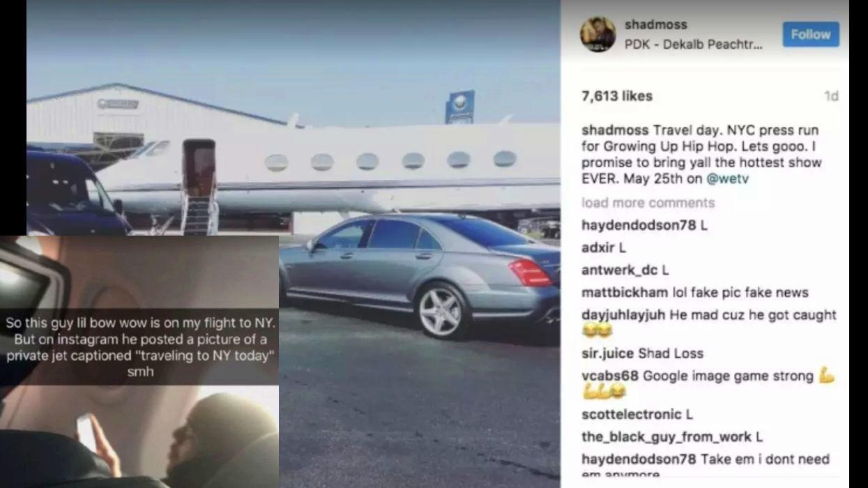 Az amerikai rappert, Bow Wow-t meg azon kapták, hogy nincs is magánrepülője, ahogy azt ő maga állította. Pár órával a magángépes/Maybach-os posztja után egy rajongó pechjére pont mögötte ült egy mezei utasszállítón, ráadásul a turistaosztályon. (Twitter/barstoolsports/shadmoss/Instagram)