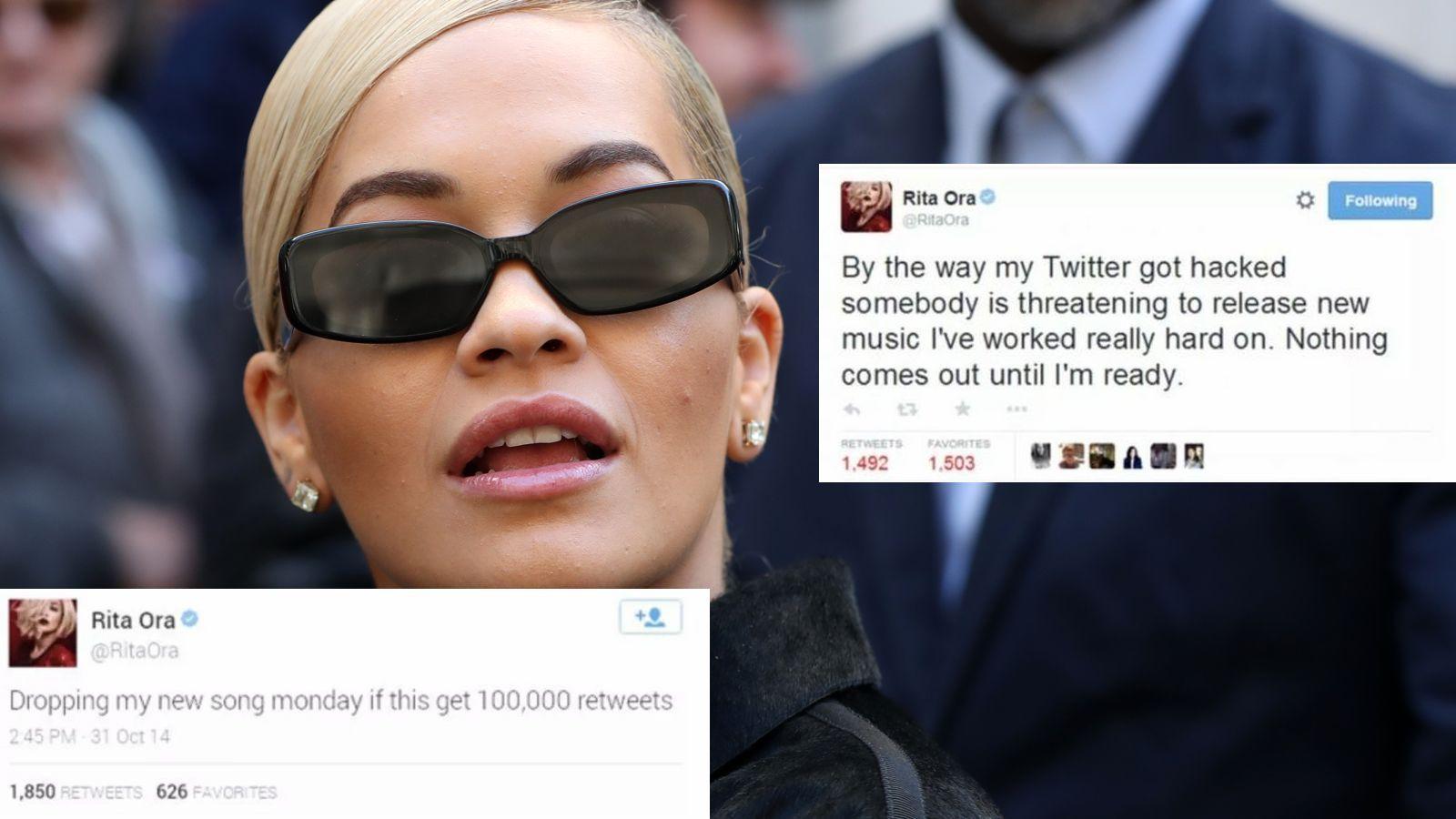 Rita Ora, ahogy egyébként sokan mások, azt hazudta, hogy meghackelték egy pár nehezen magyarázható posztot követően. (Beretta/Sims/Shutterstock/Twitter/RitaOra)