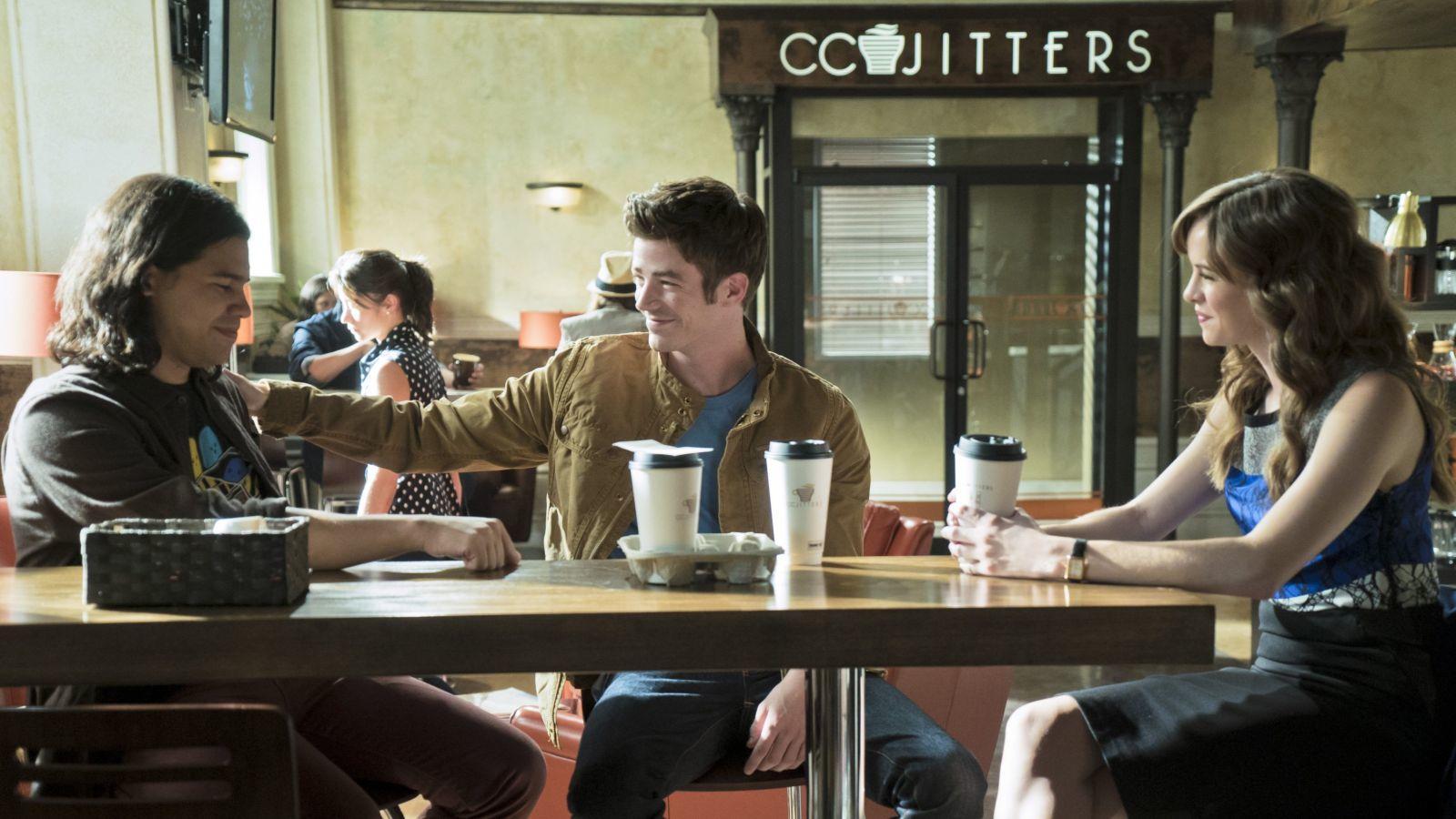 Iris munkahelye, a Jitters szintén szerepel a képregényben. (The CW)