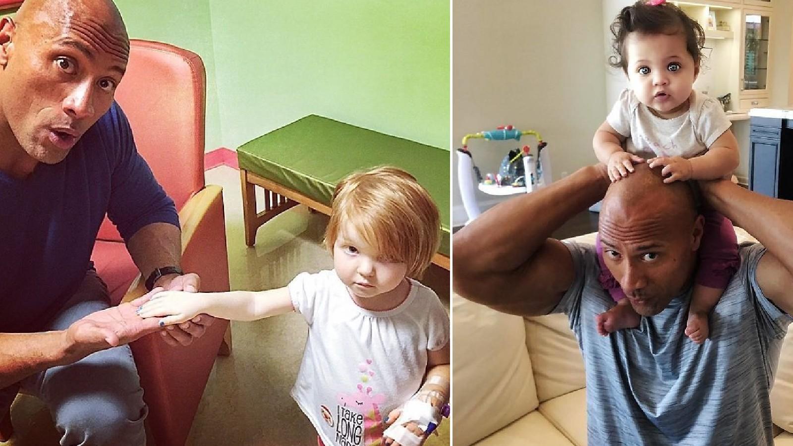 A Johnson porontyok pátyolgatása mellett jut ideje a gyermekkórházak látogatására is, hogy a legfiatalabb generációt is felvidítsa életigenlő, pozitív kisugárzásval (és nem ritkán a kórházaknak juttatott hatalmas adományaival) (instagram / @therock)