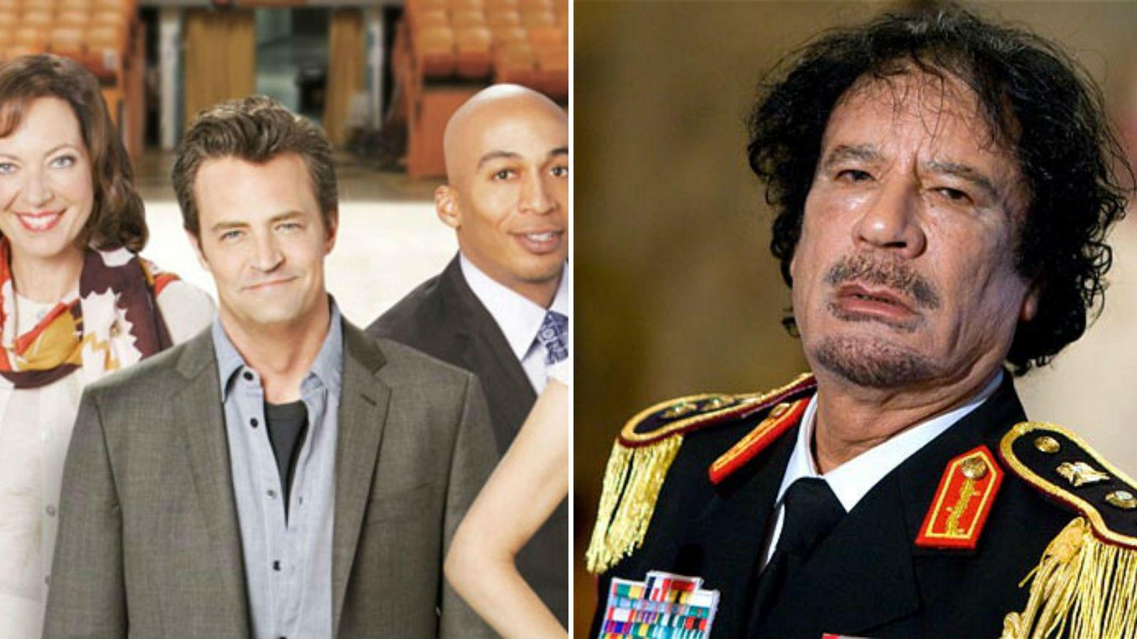 Az első részben a főszereplő a Mennyország kapuja előtt találja magát, ahol beleütközik egy nemrég elhunytba. A sorozatban azt mondják, Gadhafi 2011. július 29-én halt meg, a valóságban pedig egészen közeli időpontban, 2011. október 20-án hunyt el az érintett. (20th Century Fox TV/ telegraph.co.uk)