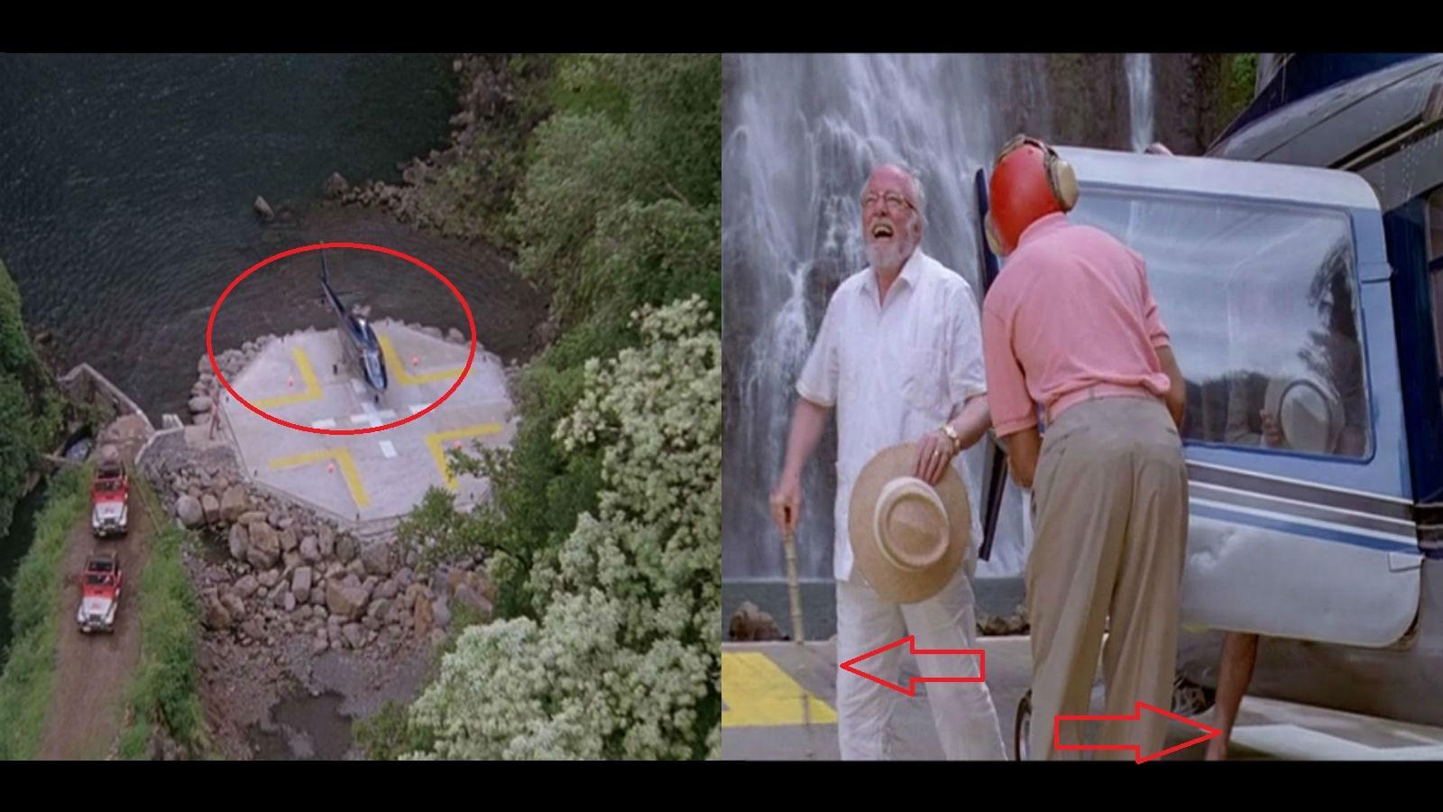 Amikor a helikopter először leszáll a szigeten tisztán látszik, hogy nem a leszállópálya keresztjére érkezik. Később mégis ott látható! (Universal Pictures)