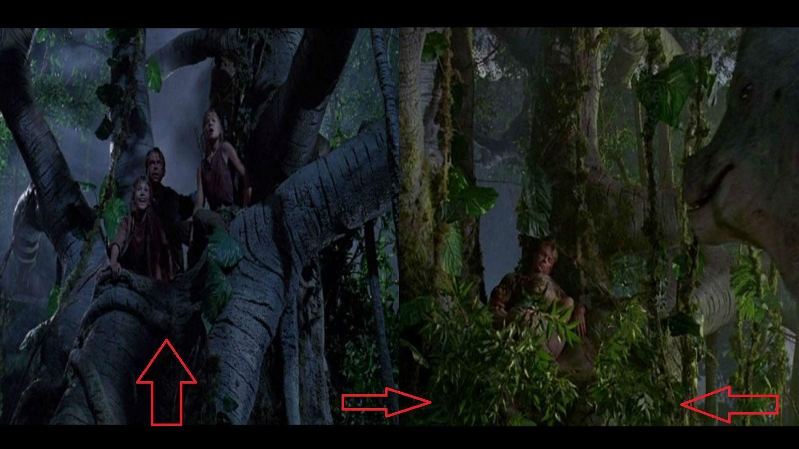 Amikor Tim, Lex és Dr. Grant a magas fán ülnek, felbukkan egy nagy dinoszaurusz. Lehúznak pár nagy ágat és megetetik a jelenetben. De amikor még másznak felfelé, nincs ott a dinó eledel. (Universal Pictures)