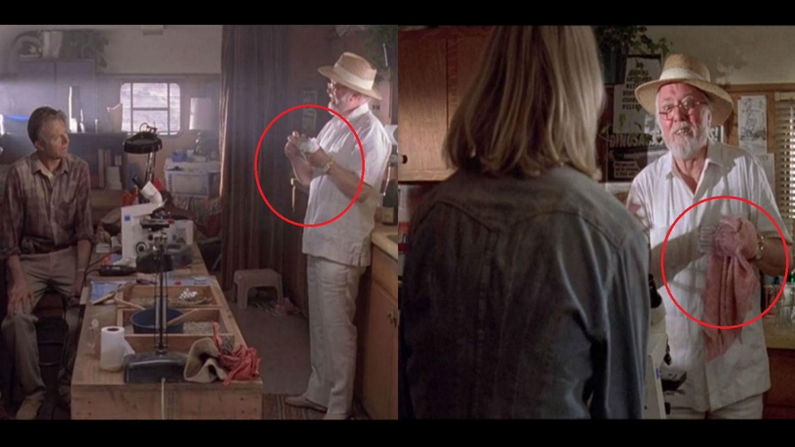 Miután Ellie, Alan és Hammond belépnek a lakókocsiba, Hammond elhatározza, hogy felbontja Ellie és Alan pezsgőjét. El is kezd pár poharat törölgetni, és a törlőruha a következő vágásnál már varázsütésre rózsaszíné válik! (Universal Pictures)