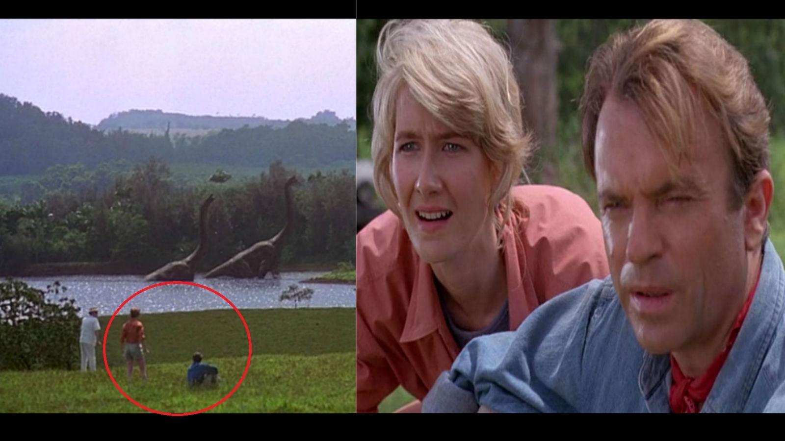 Az első dinós jelenetben Alan egy  tó előtt ül, Ellie pedig pont előtte áll. Vágás. Ellie teleportált, mert most már hátulról érkezik, és Alan vállára teszi a kezét... (Universal Pictures)