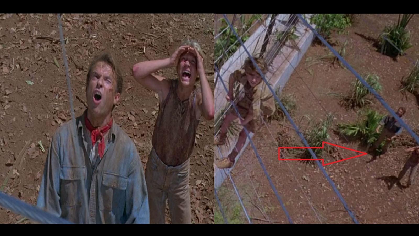 Amikor Tim a kerítésnél van, és  Grant számol pont a kerítés mellett vannak, míg a következő vágásnál már jóval távolabb.(Universal Pictures)
