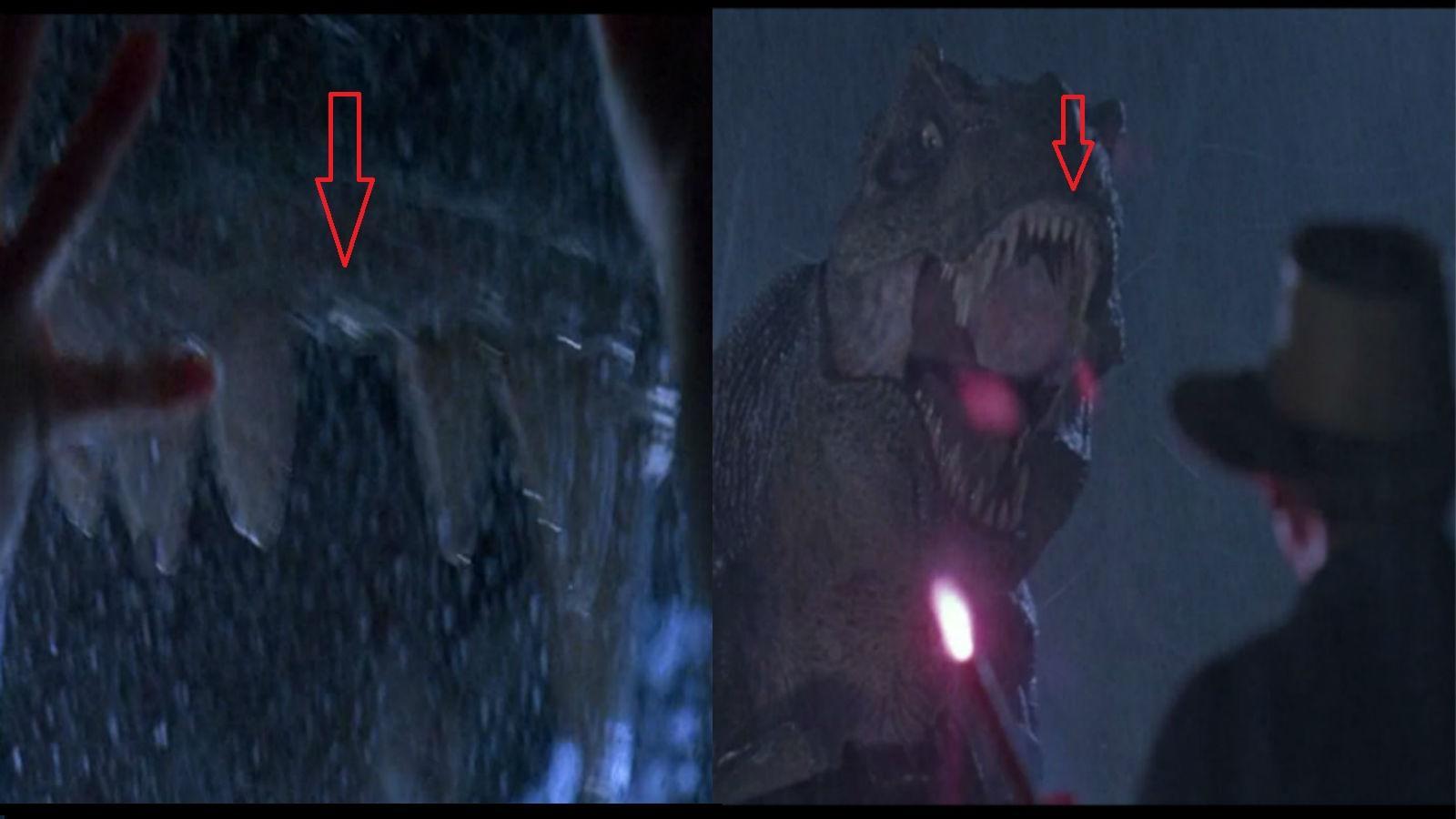 A jelenetben, ahol a T-Rex áttöri az üvegtetőt, az üveg kitöri az egyik első fogát, még az is látszik, ahogy a fog elrepül. A következő közelin még ott a helye, de láss csodát, az ezt követő részben már visszanőtt!  (Universal Pictures)