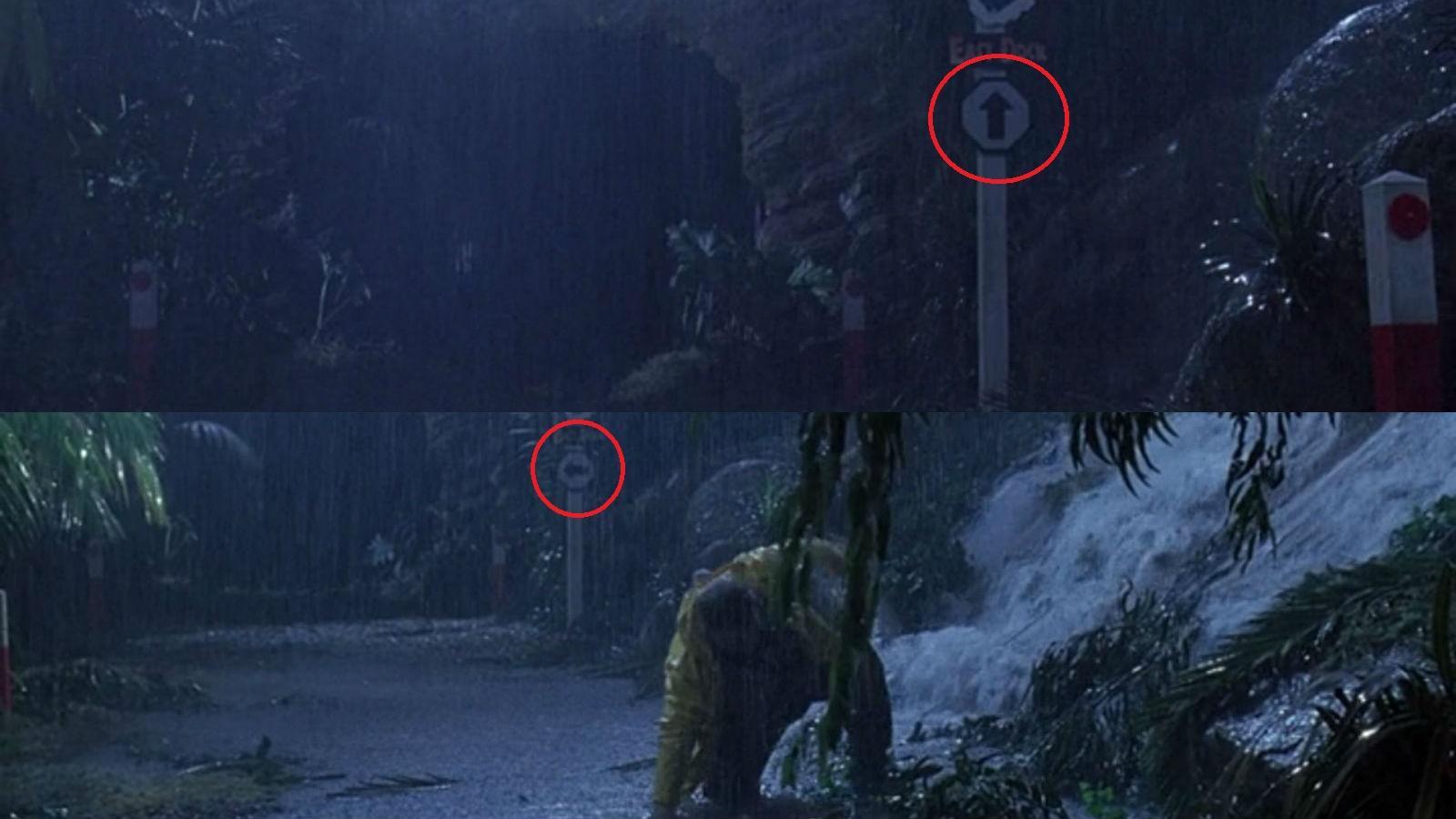 Nedry menekülésénél a jeep megakad, és mutatja a kamera az utat. Lám, ott is a nyíl előre, majd amikor megint ráközelít, már balra mutat! (Universal Pictures)