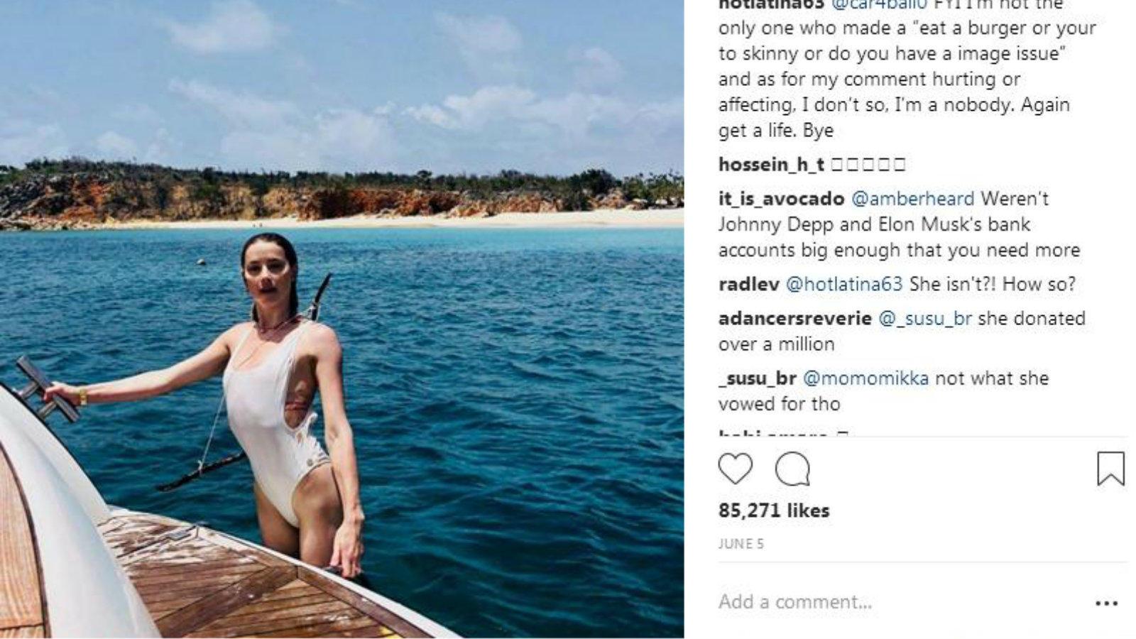 Nézd, milyen könnyed és légies Amber ebben a fehér egyrészesben. Mondjuk ilyen alakkal ez érthető. (Amber Heard Instagram)