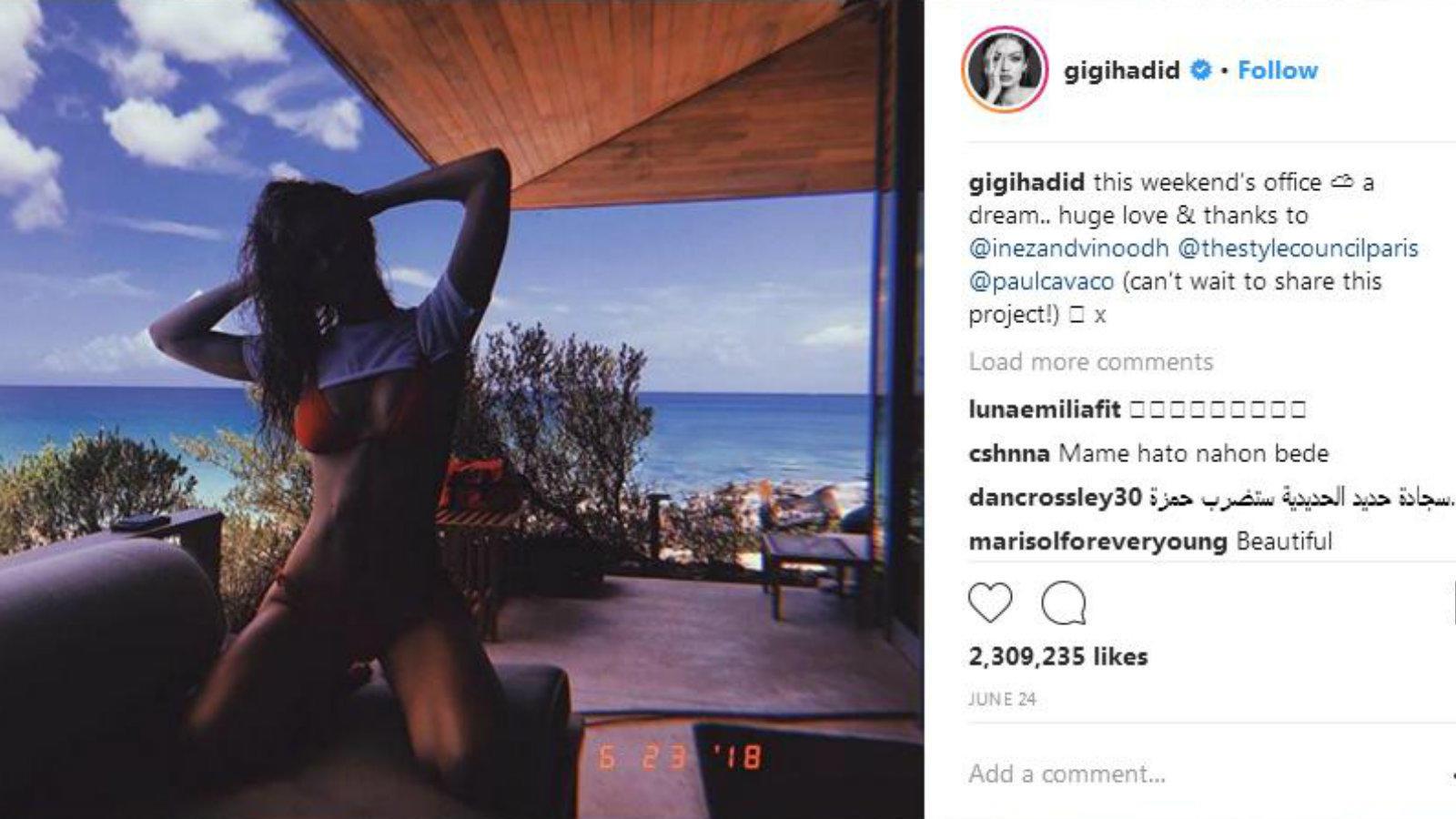 Az modellvilág ügyeletes üdvöskéje pontosan tudja, hogyan pózoljon a kamera előtt. (Gigi Hadid Instagram)
