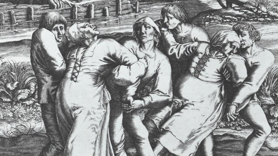 A középkorban időről időre felütötte a fejét az úgynevezett táncoló járvány, amikor egy település lakói egyszer csak tömegével felperdültek, és transzba esett állapotban, olykor rettegve, agóniában, hallucinációktól gyötörve, a lelkük megmentéséért könyörögve akár napokat, heteket is táncoltak. A szokatlan jelenséget magyarázták a gabonába őrölt gombamérgezéssel (anyarozs), ám mások szerint a megmagyarázhatatlan táncőrületet inkább a roppant félelem és feszültség szülte. (Wikipedia)