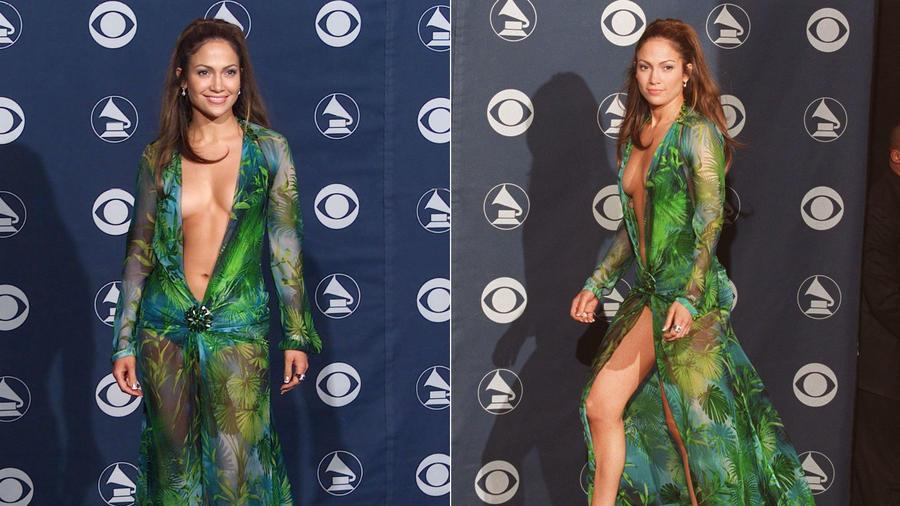 J.Lo nem vitte túlzásba az öltözést a 2000-es Grammykre. Vagy éppen, hogy túlzásba vitte, attól függ, honnan nézzük. Mindenestre ennyi év távlatából ez a legizgalmasabb emlékünk az estről. (REX/ Shutterstock)