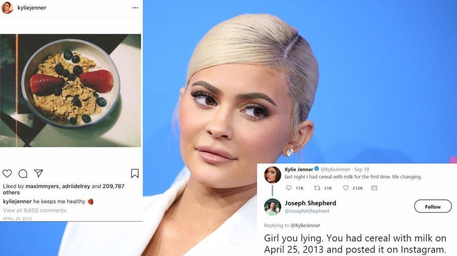 Kylie Jenner például azt állította, hogy előbb önti a tejet, és arra a müzlit. Ó, jaj! (Matt Baron/Shutterstock/Twitter/JosephAShepherd/kyliejenner/Instagram)