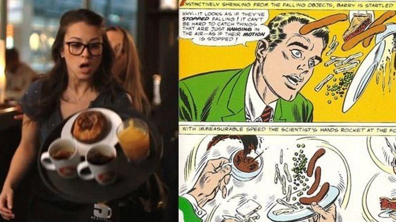 Feltűnt, hogy a sorozatban Flash úgy jön rá a különleges képességének létezésére, hogy lassítva látja, ahogyan az étel leesik a tálcáról? Nos, pont ugyanez történik a képregényben is. (The CW/ DC Comics)