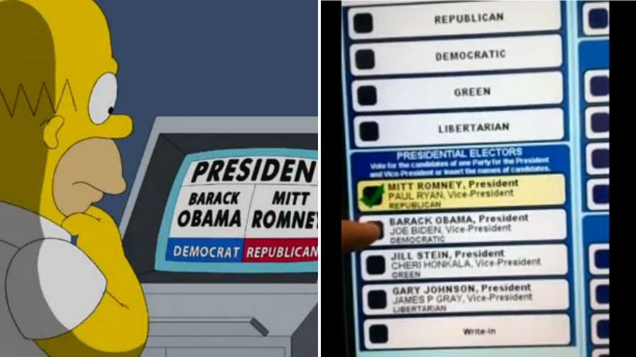 """A 2012-es amerikai elnökválasztáson egy pennsylvániai szavazógépet kivontak a forgalomból, miután videón rögzítették, ahogy egy Obamára leadott szavazatot Mitt Romney-ra változtat. A Simpson család 2008-ban gyakorlatilag ugyanezt """"jósolta"""": egy érintőképernyős szavazógépet mutatnak, ami kicseréli az Obamára leadott szavazatokat John McCainre, bizonyítva, hogy a republikánusok """"ellopják"""" a demokratáktól a szavazatokat. (Fox Film Corporation/ nasa.org)"""