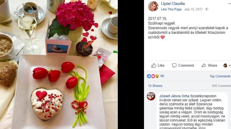 Claudiának már a reggel is édesen indult a születésnapján, ezzel a gyönyörű kompozícióval. (Facebook/Liptai Claudia)