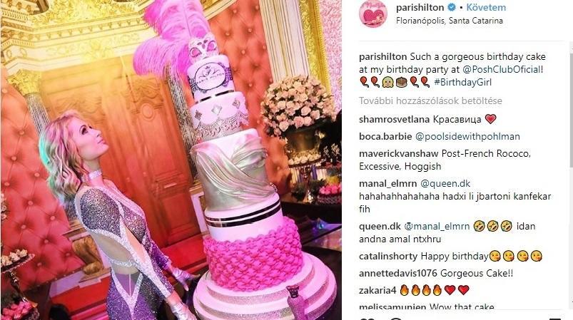Irtó jól néz ki, de hogy vágta fel ezt a szülinapi tortát? Létráról? A stílust tökéletesen eltalálták a pinkes, hercegnős díszítéssel. (Instagram/parishilton)